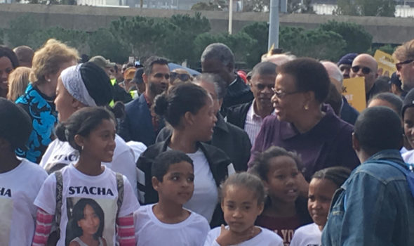Graca Machel Surrounded By Walkers At Grand Parade